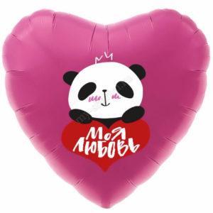 Сердце, В объятиях панды 46 см